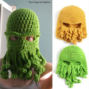 Handmade Funny Animal Cthulu Beards Hats Octopus Hats caps Crocheted Tentacle Beanies for Men and Women Halloween Birthday Gifts