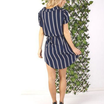 Hot Sale Stripes Short Sleeve Chiffon Slim Shirt One Piece Dress [4918660868]