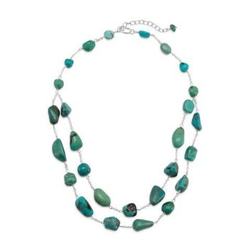Extension Double Strand Reconstituted Turquoise Nugget Necklace
