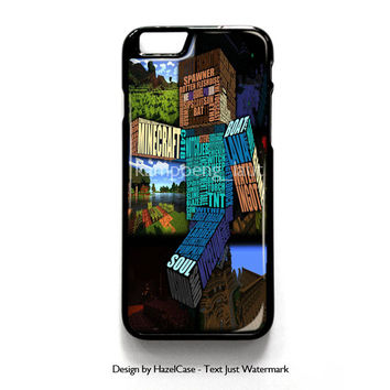 Minecraft Steve Typograpghy for iPhone 4 4S 5 5S 5C 6 6 Plus , iPod Touch 4 5  , Samsung Galaxy S3 S4 S5 Note 3 Note 4 , and HTC One X M7 M8 Case Cover