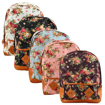 Wholesale 1pcs Cute Flower Floral Bag Vintage Women Girl Schoolbag Bookbag Backpack Free /
