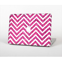 The Pink & White Sharp Glitter Print Chevron Skin Set for the Apple MacBook Pro 13""