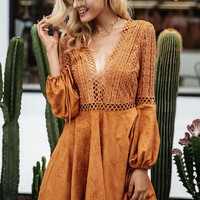 8DESS Lace Up V Neck Suede Lace Dress Women Hollow Out Flare Sleeve Backless Winter Dress