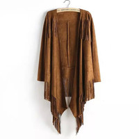 Long-Sleeve Fringed Asymmetrical Suede Leather Coat