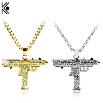 Gold Necklace Uzi Gun Pendant Necklace Men Alloy Full Crystal Bling Submachine Chain Hip Hop Cyclist Accessories Male Necklace