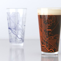 Boise, ID - Boise State - College Town Map Pint Glass Set