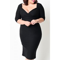Noble Sweetheart Neck 3/4 Sleeve Black Bodycon Women's Dress