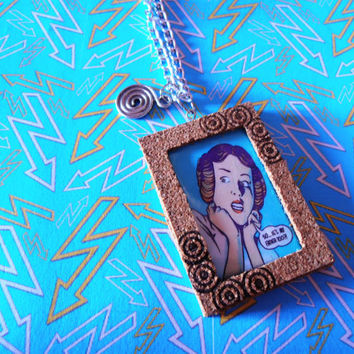 Princess Leia - Star Wars Necklace Pendant Laminated Comic Illustration Cork Frame Handmade Jewelry
