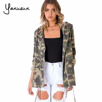 Trendy Yanueun Fashion Military Women Jacket 2017 Zipper Button Outwear Coats Female Vintage Camouflage Army Green Jackets Blouses AT_94_13