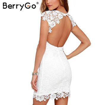 BerryGo Sexy backless white lace dress Women hollow out club party mini dress Female short sleeve black christmas dress vestidos