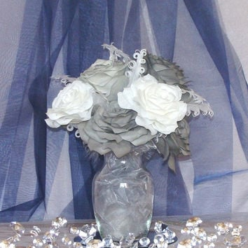 Grey Roses, White Roses, Free shipping, Organza, Grey Feathers, Glass Vase, Coffee Filter Flowers, Wedding or Quinceanera centerpiece, Decor
