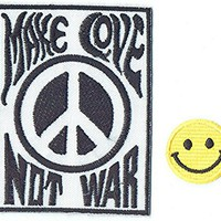"""MAKE LOVE PEACE NOT WAR"" Applique embroidered iron on PATCHES (Wappen, ワッペン , 패치) with Yellow Tiny Smiley Patches by PATCH CUBE"