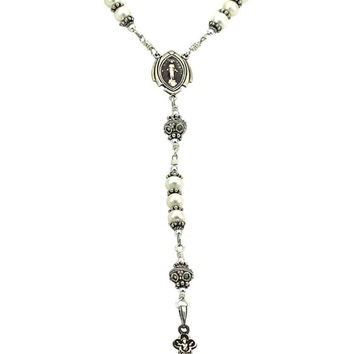 Sterling Silver Rosary Necklace Freshwater-Cultured Pearl 6mm, Crucifix & Miraculous Medal