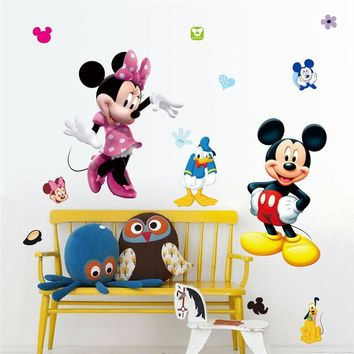 Mickey Mouse Minnie PVC Mural Wall Sticker For Kids Rooms Cartoon Bathroom Window Glass Wall Decals Children Nursery Room Decor