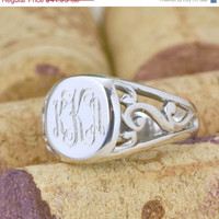 Back To School Sale Monogram Signet - Sterling Silver Ring - Engraved Ring Band - Personalized Ring - Engraved Jewelry - Filigree Signet