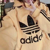 """Adidas"" Women Sport Casual Sequin Logo Letter Stripe Long Sleeve Hooded Sweater Sweatshirt Tops"