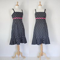 Vintage 80s Dress / Polka Dot Sundress / R & K Originals Frock / Preppy Spring Summer / 80s Fashion