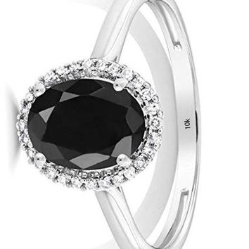 CERTIFIED 1.66 Ctw 10K White Gold Black Sapphire and Diamond Halo Engagement Ring