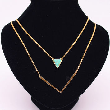 6 style Fashion Women Stone Necklaces triangle water drop Black White turquoise Gold Layered necklaces & pendants factory sales