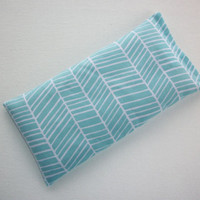 Aromatherapy Eye Pillow - Flax Seed & Lavender - aqua blue herringbone - yoga