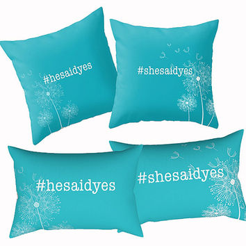 CUSTOMIZABLE PILLOW SET She Said, He said -hashtag typography pillows, dandelion, turquoise throw pillows, choose your own hashtag and color