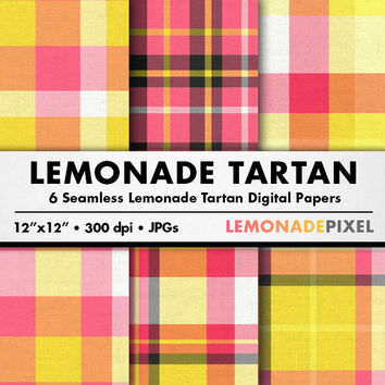 Lemonade Tartan Digital Paper - Plaid fabric scrapbooking paper, yellow pink white, instant download, high res, website and blog background