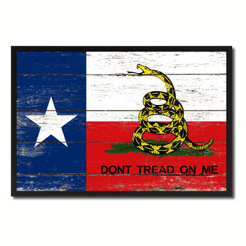 Gadsden Don't Tread On Me Texas State Military Flag Vintage Canvas Print with Picture Frame Home Decor Man Cave Wall Art Collectible Decoration Artwork Gifts