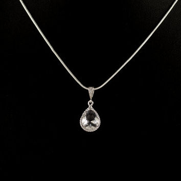 Bridal Necklace. Wedding Jewelry. Bridesmaid Pendant Necklace. Crystal Teardrop Glass Pendant. Rhodium Plated . Sterling Silver Chain