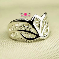 RS14 - Mask Design Sterling Silver Ring (Normal US size)