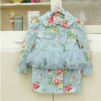 Vintage Inspired Girls Clothes Blue Vintage Inspired floral little girls Trench Coat | Vindie Baby