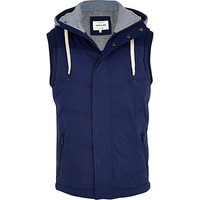 River Island MensBlue casual hooded padded vest