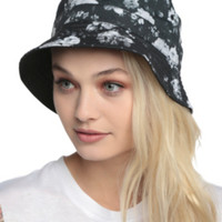 Black And White Floral Reversible Bucket Hat