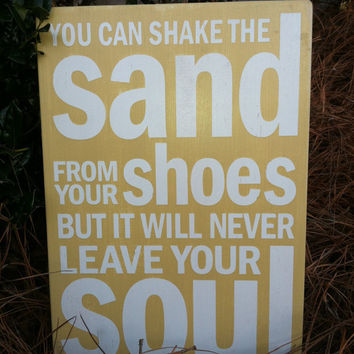 "You can Shake the Sand from your Shoes - Subway Sign - Beach House - Hand Painted and Distressed -11""x16"""
