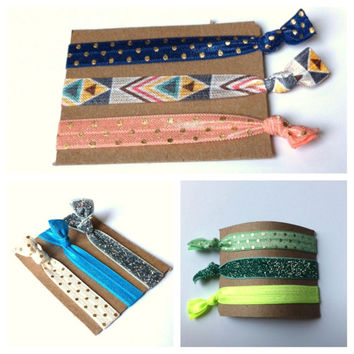 Pick 5 Handmade Elastic Hair Ties, Personalize, Customize, 22 Colors to Choose From