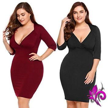 Plus Size Sheath Mini Dress