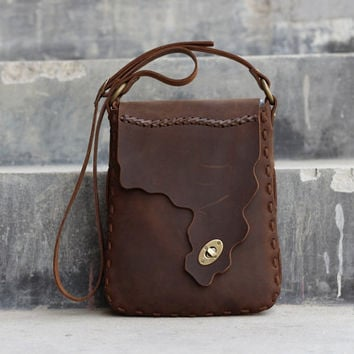 Handmade Leather Satchel - Chocolate Brown Hip Bag / Leather Purse / Shoulder Bag - Distressed Leather Bag / Purse