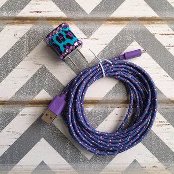 New Super Cute Jeweled Purple/Turquoise Blue Cheetah Print Designed USB Wall Connector + 10ft Purple Braided iPhone 4/4g/4s Cable Cord