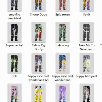 Real American Size 2017 New fashion jogger Spiderman,trippy alice, Snoop Dogg 3D Sublimation Print OEM Men' s String Jogger
