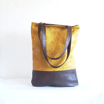 Leather tote, real leather tote bag, yellow leather bag, brown leather tote, colorblock leather shoulder bag