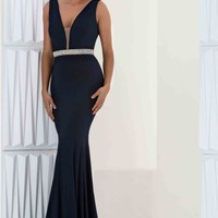 Stunning V- Neckline Jasz Couture Dress 5707