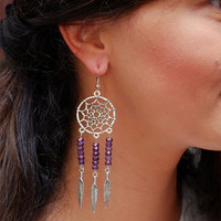 Dream Catcher earrings, music festival jewelry, purple beads earrings, boho hippie earrings, summer earrings, feather gypsy earrings.