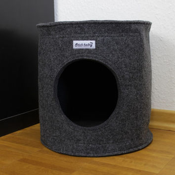 Felt Cat bed, Cat house, Cat cave fits into lots of shelves