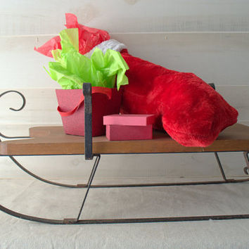 Rustic Wood and Iron Christmas Sleigh
