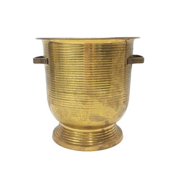 Brass Planter Large Round Vintage Flower Pot Vase Urn Handles Cachepot Ribbed Floor Pedestal Container Barware Wine Bottle Chiller Bucket