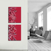 Original abstract painting on canvas. 16x42. Modern red painting with berry red, silver, black, white. Large painting. 2 piece painting.