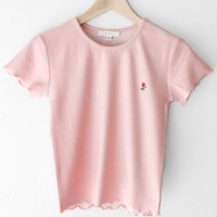 Rose Knit Crop Top - Pink