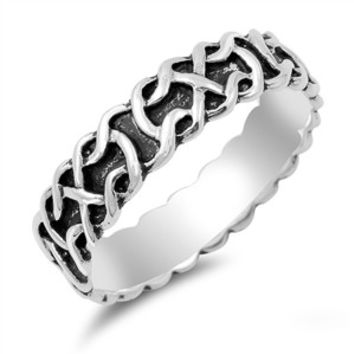 925 Sterling Silver Wiccan Weave Eternity Ring 6MM