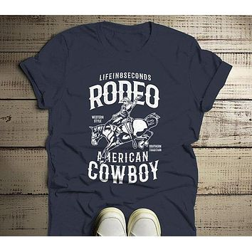 Men's Rodeo T Shirt American Cowboy Shirts Western Graphic Tee Southern Tradition Horse Tshirt