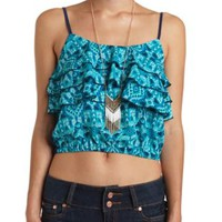 Triple Ruffle Tribal Print Crop Top