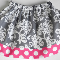 Beautiful Gray Damask and Hot Pink Polka Dot by KayLaneSisters